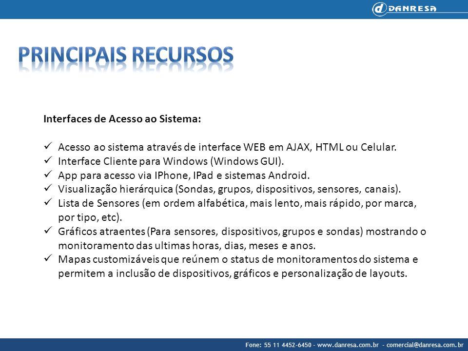 Principais recursos Interfaces de Acesso ao Sistema: