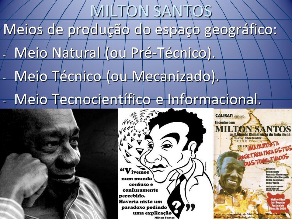 MILTON SANTOS Meios de produção do espaço geográfico: