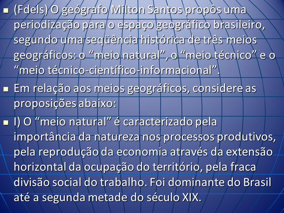 (Fdels) O geógrafo Milton Santos propôs uma periodização para o espaço geográfico brasileiro, segundo uma seqüência histórica de três meios geográficos: o meio natural , o meio técnico e o meio técnico-científico-informacional .