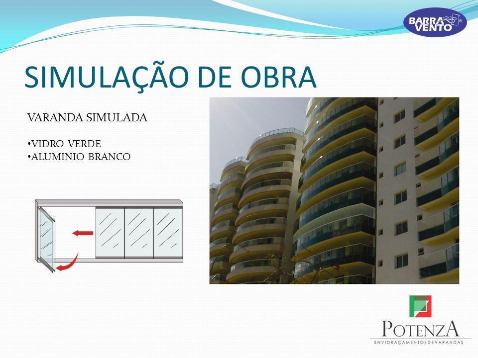 SIMULAÇÃO DE OBRA VARANDA SIMULADA VIDRO VERDE ALUMINIO BRANCO