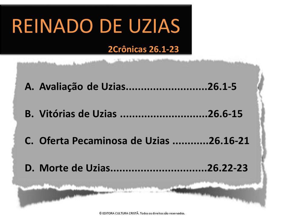 Reinado de Uzias Avaliação de Uzias...........................26.1-5