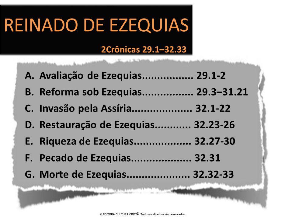 Reinado de EZEQUIAS Avaliação de Ezequias................. 29.1-2