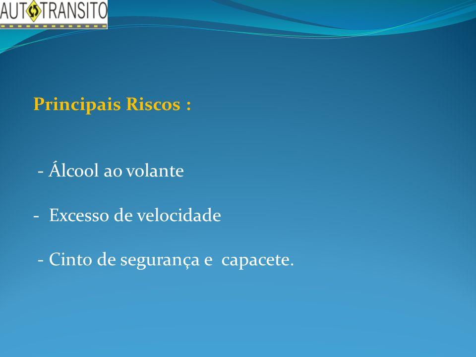 Principais Riscos : - Álcool ao volante - Excesso de velocidade - Cinto de segurança e capacete.