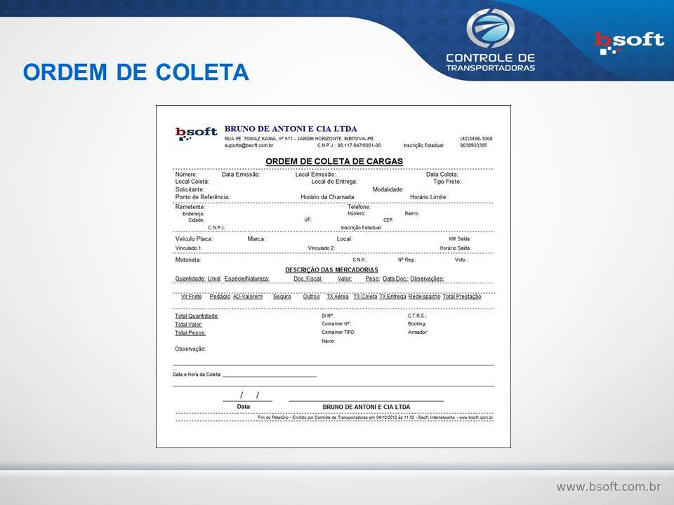 ORDEM DE COLETA