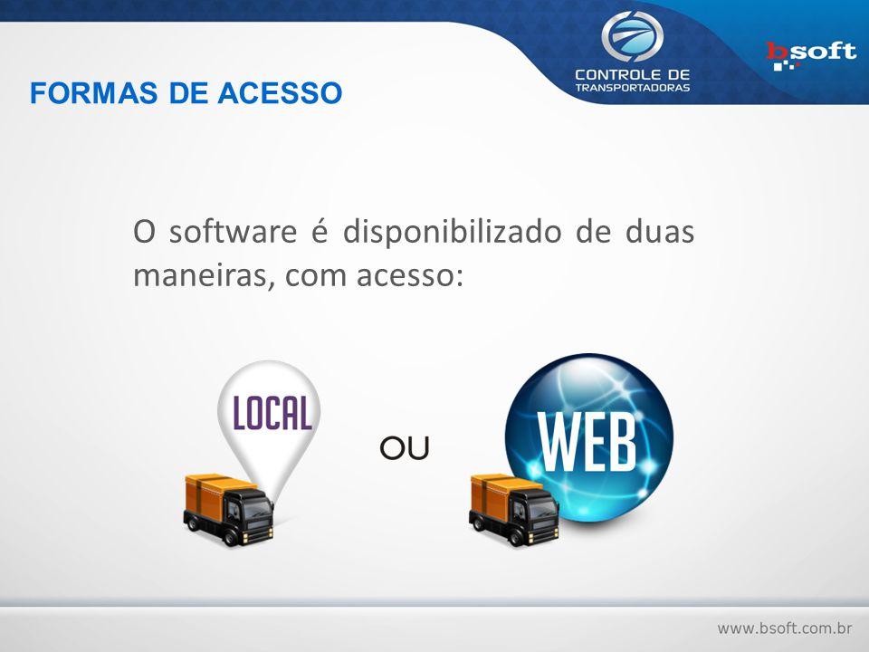 O software é disponibilizado de duas maneiras, com acesso: