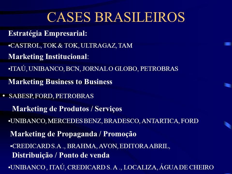 CASES BRASILEIROS Estratégia Empresarial: Marketing Institucional: