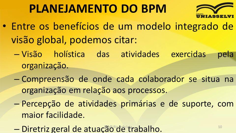 PLANEJAMENTO DO BPM Entre os benefícios de um modelo integrado de visão global, podemos citar: