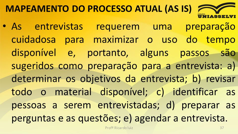 MAPEAMENTO DO PROCESSO ATUAL (AS IS)