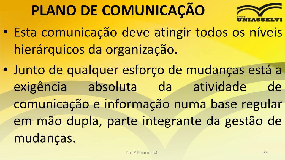 PLANO DE COMUNICAÇÃO Esta comunicação deve atingir todos os níveis hierárquicos da organização.