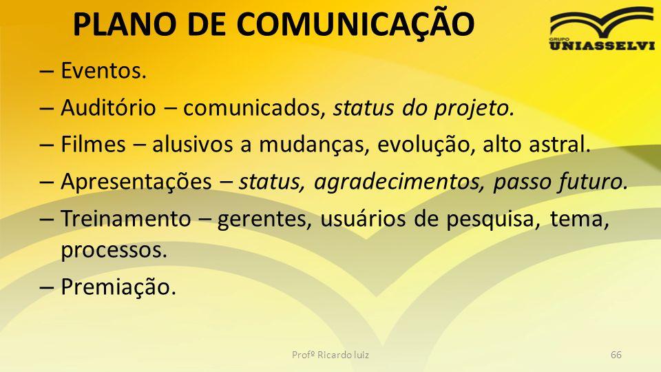 PLANO DE COMUNICAÇÃO Eventos.