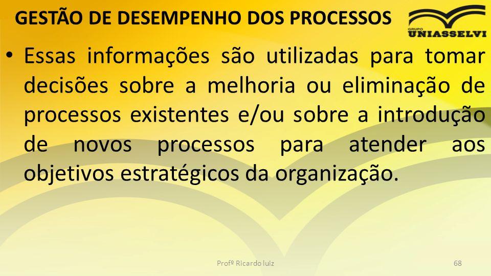 GESTÃO DE DESEMPENHO DOS PROCESSOS