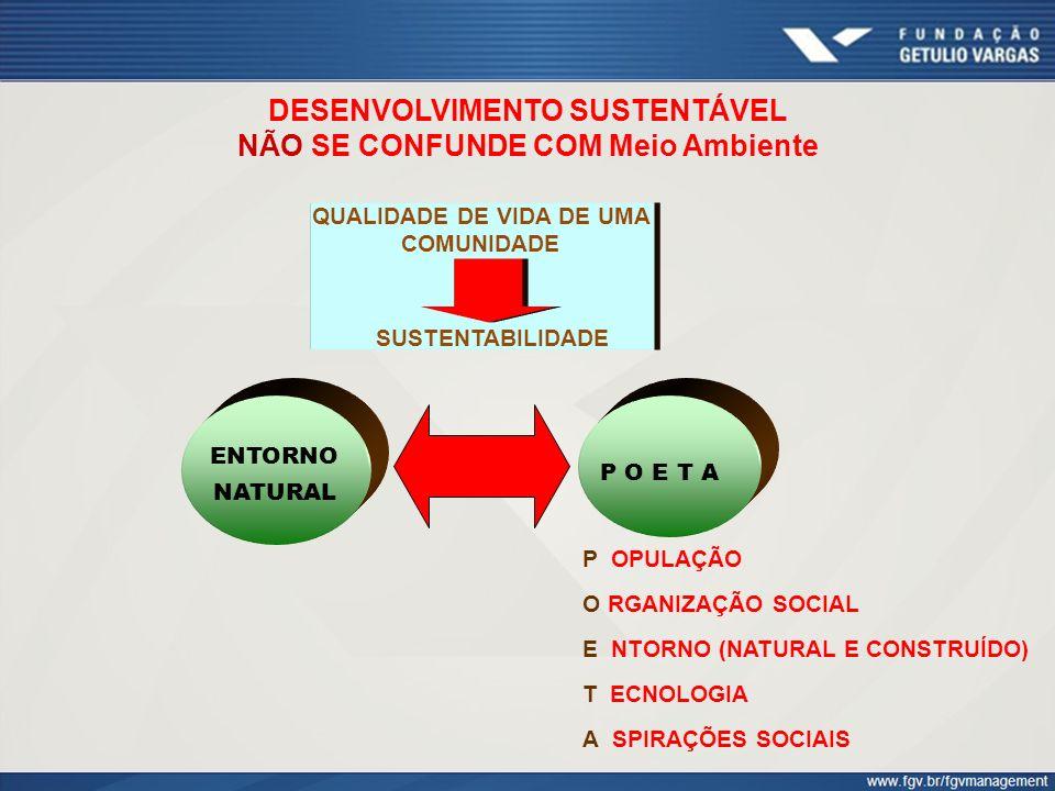 DESENVOLVIMENTO SUSTENTÁVEL NÃO SE CONFUNDE COM Meio Ambiente