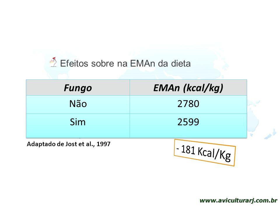 - 181 Kcal/Kg Fungo EMAn (kcal/kg) Não 2780 Sim 2599