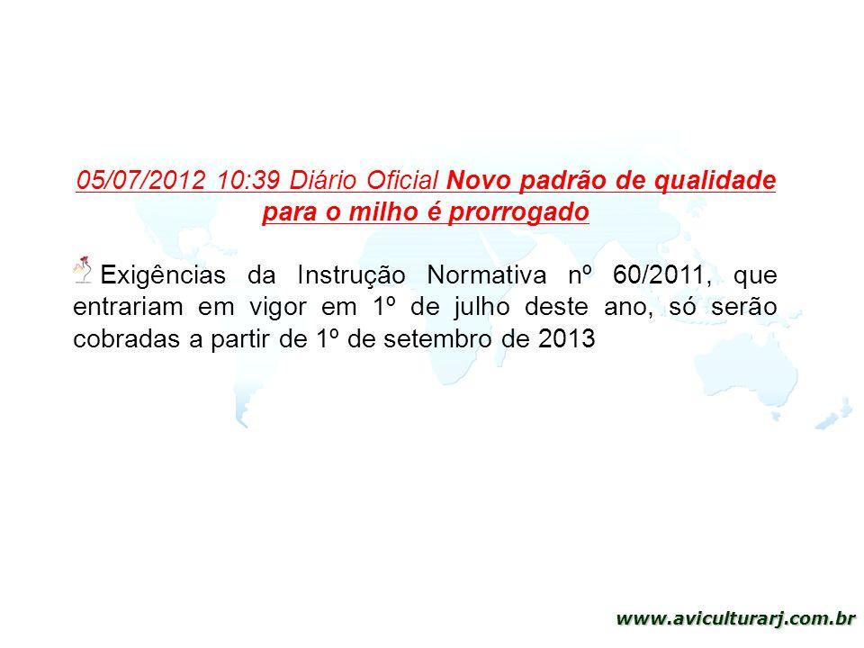 05/07/2012 10:39 Diário Oficial Novo padrão de qualidade para o milho é prorrogado