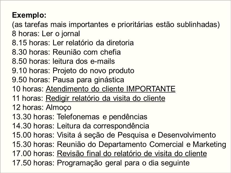 Exemplo: (as tarefas mais importantes e prioritárias estão sublinhadas) 8 horas: Ler o jornal. 8.15 horas: Ler relatório da diretoria.