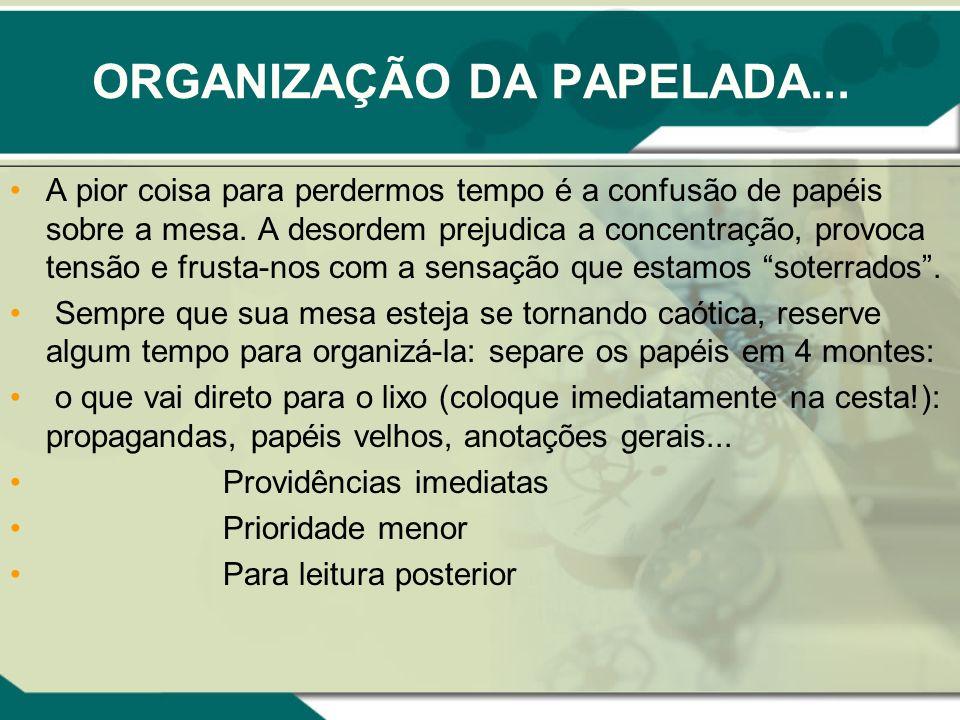 ORGANIZAÇÃO DA PAPELADA...