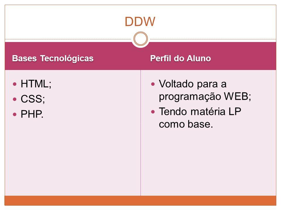 DDW HTML; CSS; PHP. Voltado para a programação WEB;