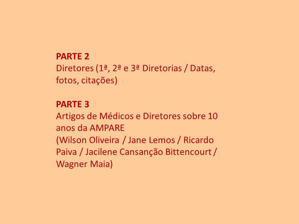 PARTE 2 Diretores (1ª, 2ª e 3ª Diretorias / Datas, fotos, citações) PARTE 3. Artigos de Médicos e Diretores sobre 10.