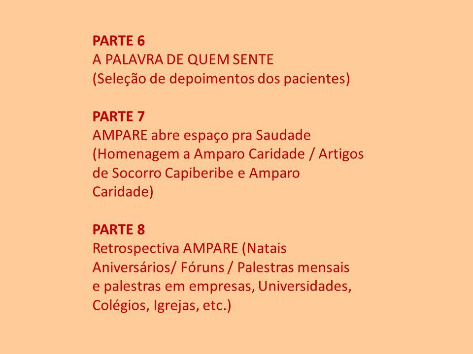 PARTE 6 A PALAVRA DE QUEM SENTE. (Seleção de depoimentos dos pacientes) PARTE 7. AMPARE abre espaço pra Saudade.