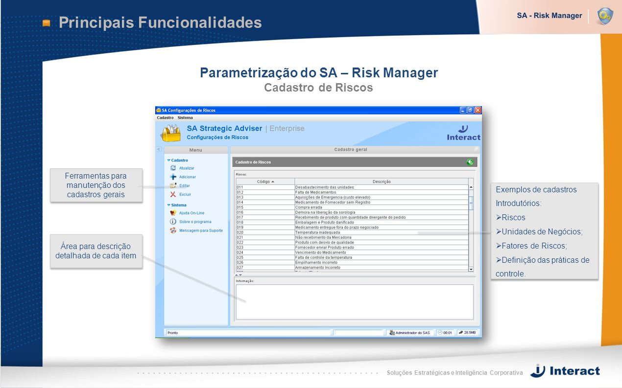 Parametrização do SA – Risk Manager