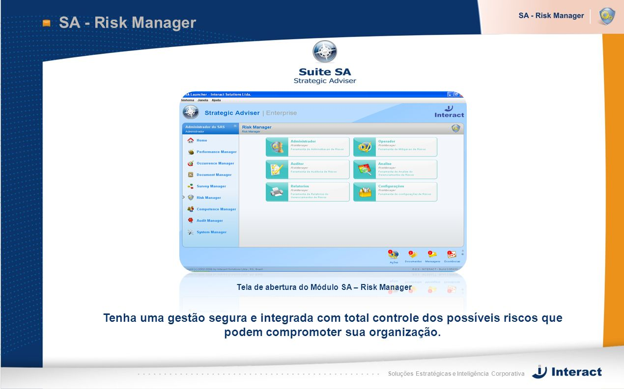 Tela de abertura do Módulo SA – Risk Manager