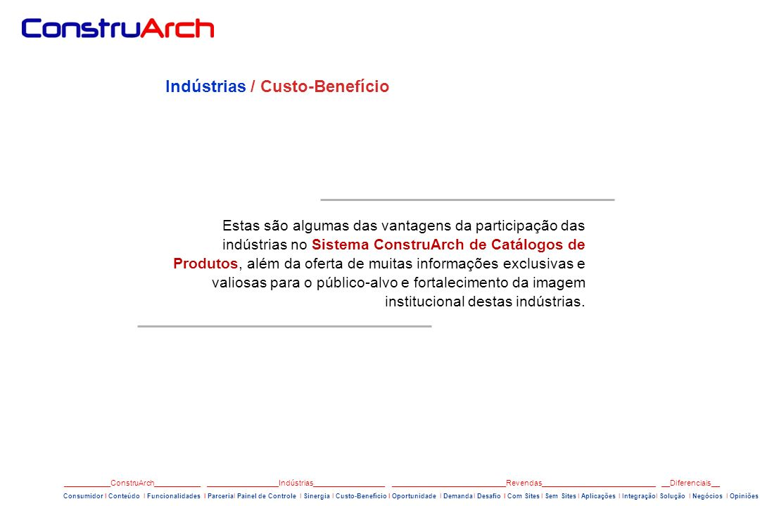 Indústrias / Custo-Benefício