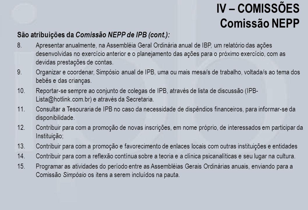 IV – COMISSÕES Comissão NEPP