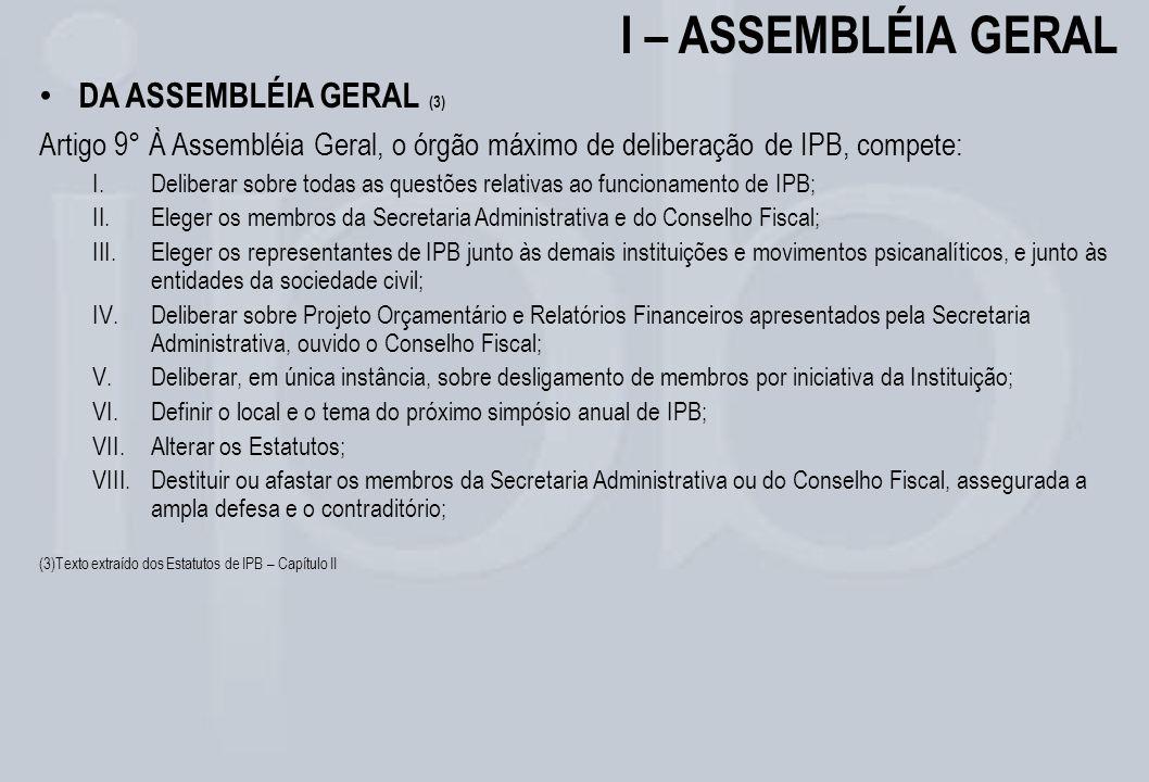I – ASSEMBLÉIA GERAL DA ASSEMBLÉIA GERAL (3)