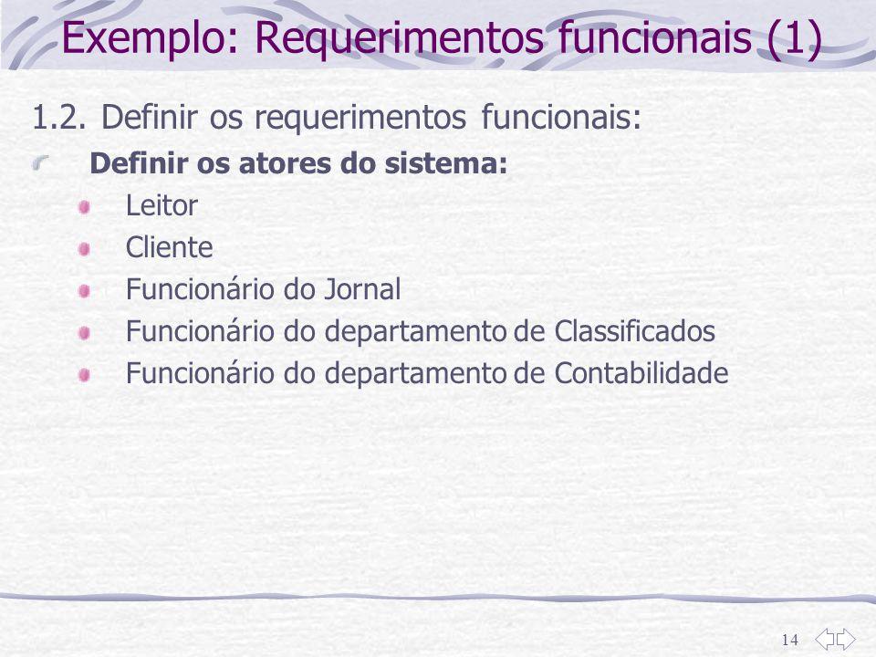 Exemplo: Requerimentos funcionais (1)