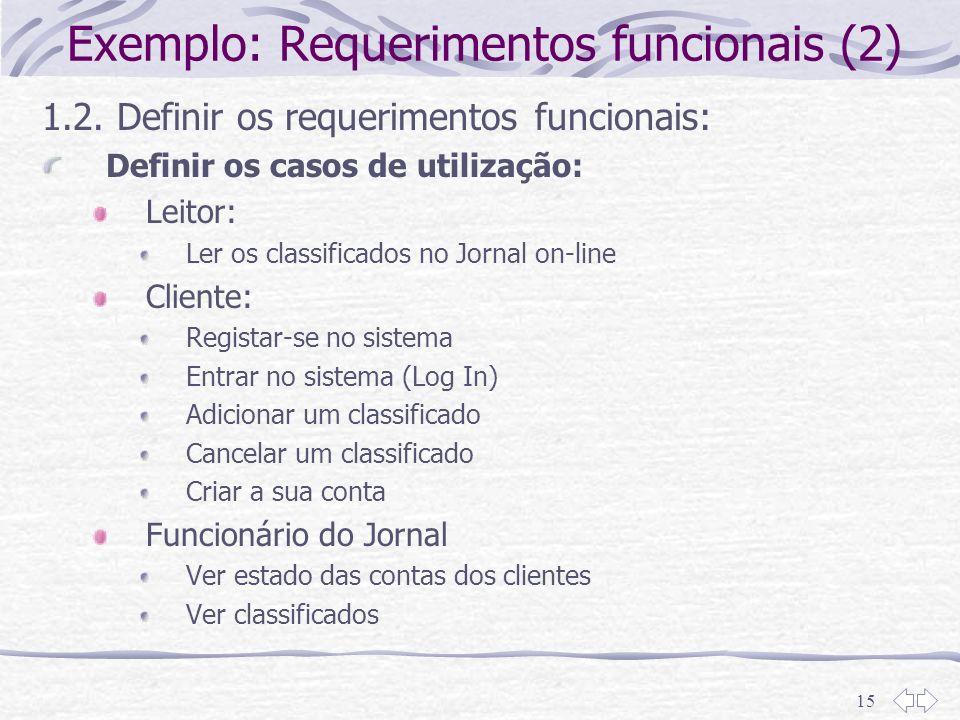 Exemplo: Requerimentos funcionais (2)