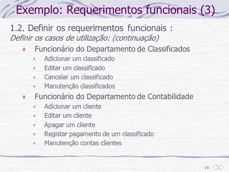 Exemplo: Requerimentos funcionais (3)