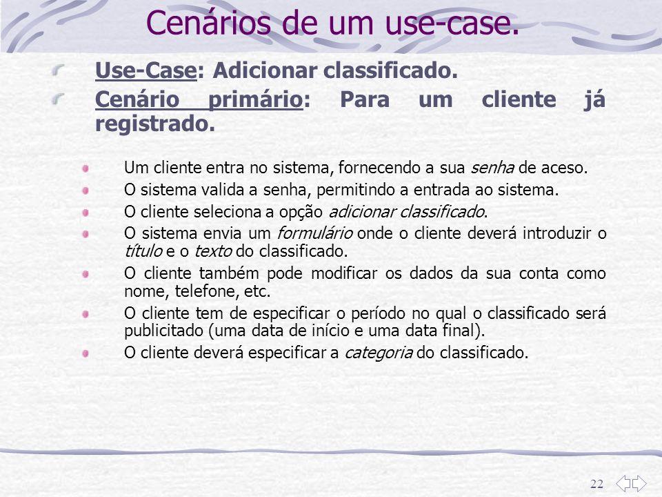 Cenários de um use-case.