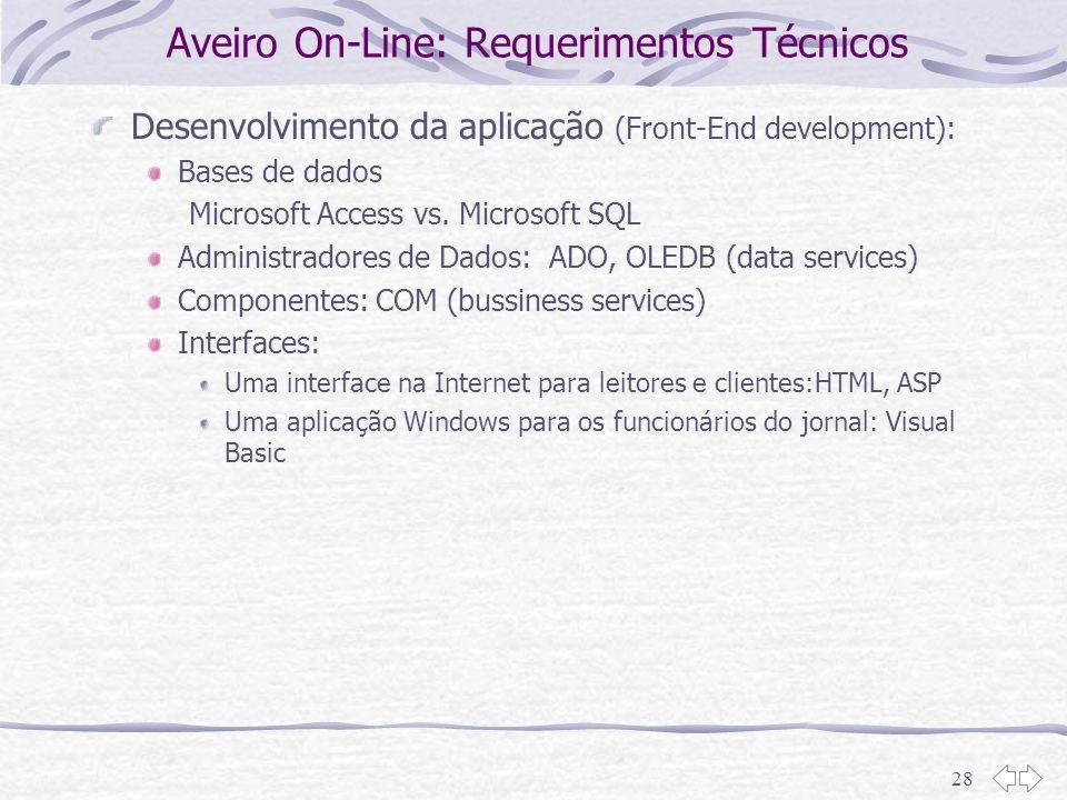 Aveiro On-Line: Requerimentos Técnicos
