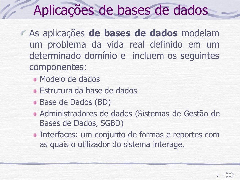 Aplicações de bases de dados