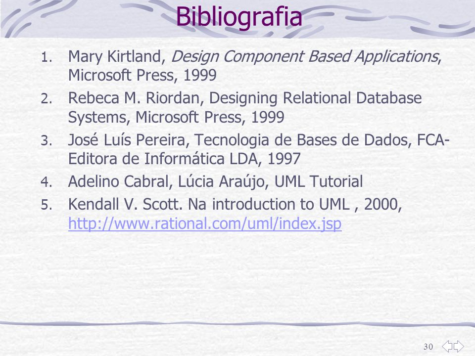 Bibliografia Mary Kirtland, Design Component Based Applications, Microsoft Press, 1999.