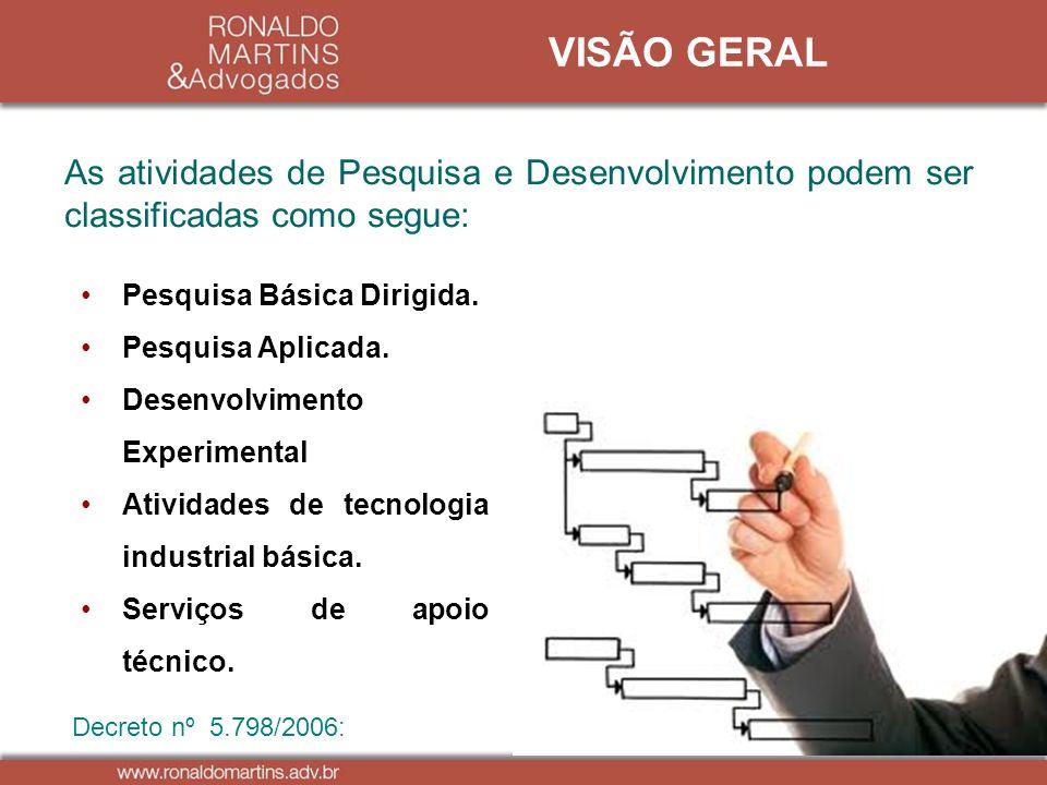VISÃO GERAL As atividades de Pesquisa e Desenvolvimento podem ser classificadas como segue: Pesquisa Básica Dirigida.