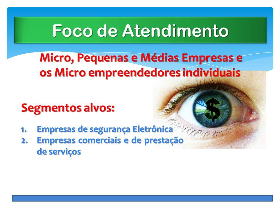 Foco de Atendimento Micro, Pequenas e Médias Empresas e os Micro empreendedores individuais. Segmentos alvos: