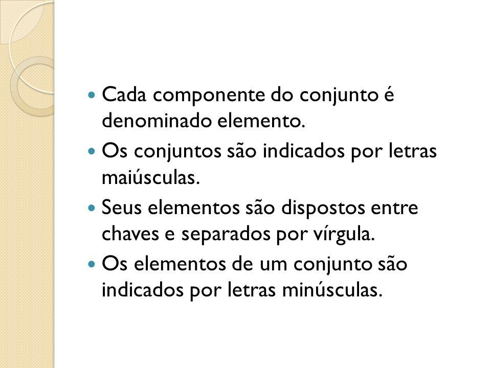 Cada componente do conjunto é denominado elemento.