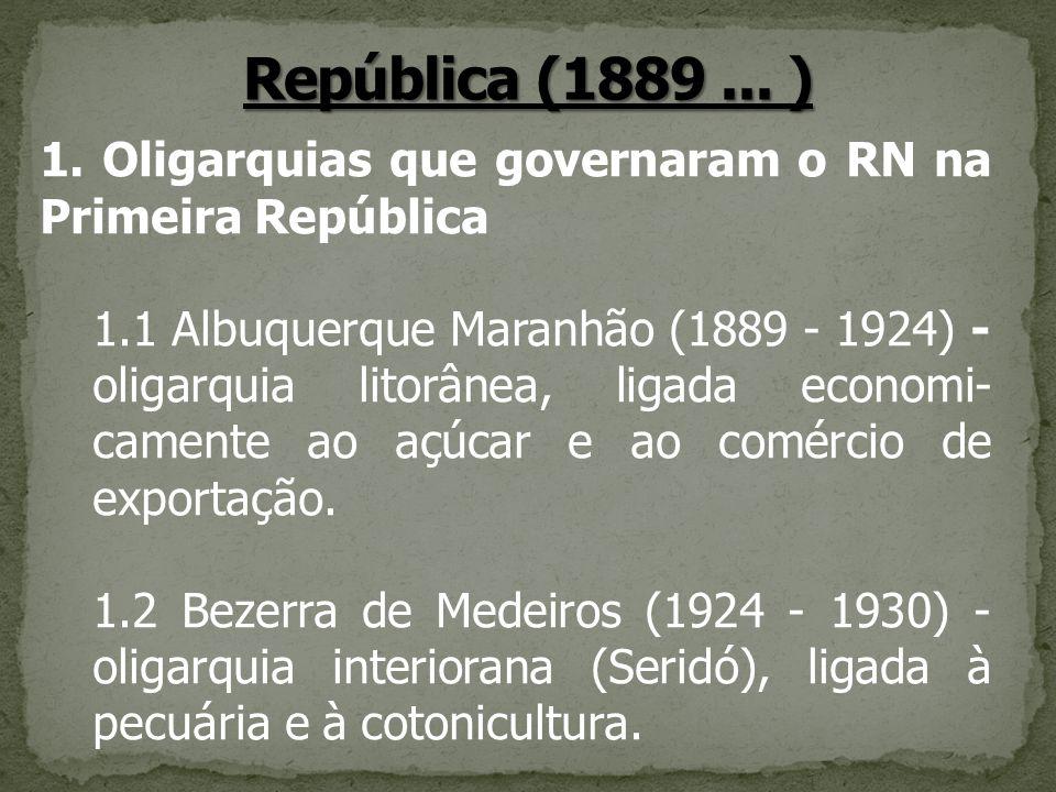 República (1889 ... ) 1. Oligarquias que governaram o RN na Primeira República.