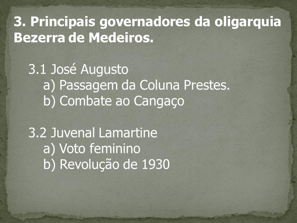 3. Principais governadores da oligarquia Bezerra de Medeiros.