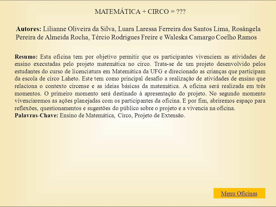 MATEMÁTICA + CIRCO =