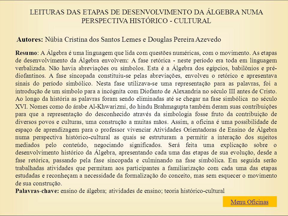 Autores: Núbia Cristina dos Santos Lemes e Douglas Pereira Azevedo