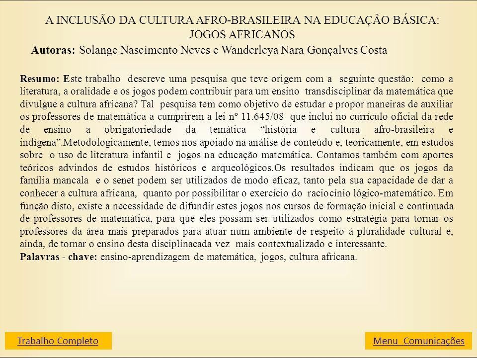 A INCLUSÃO DA CULTURA AFRO-BRASILEIRA NA EDUCAÇÃO BÁSICA: