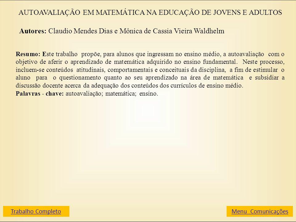 AUTOAVALIAÇÃO EM MATEMÁTICA NA EDUCAÇÃO DE JOVENS E ADULTOS