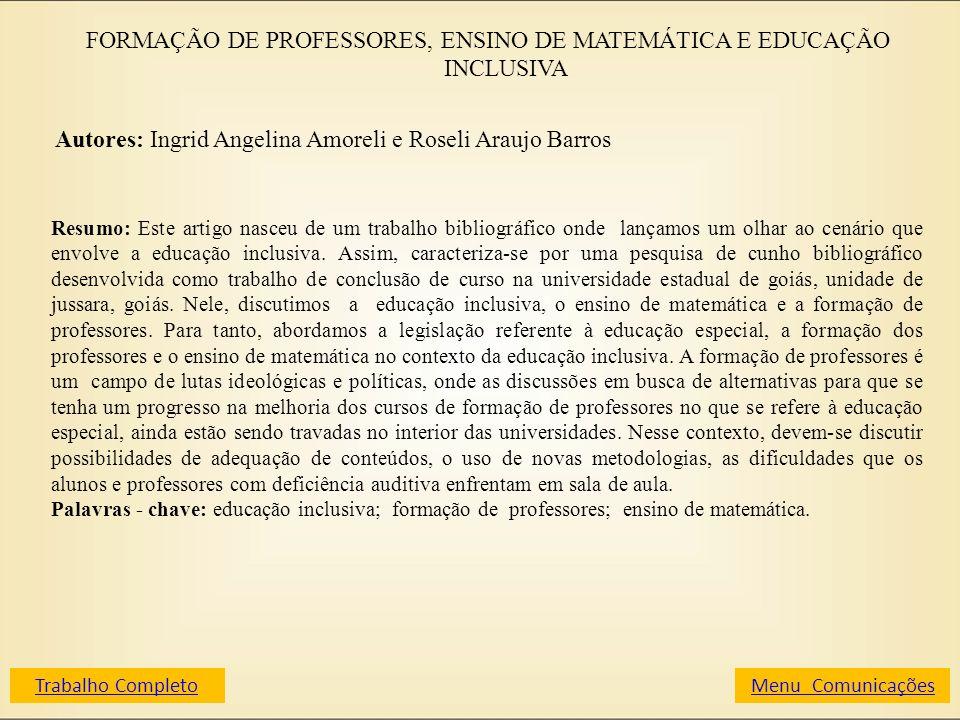 FORMAÇÃO DE PROFESSORES, ENSINO DE MATEMÁTICA E EDUCAÇÃO INCLUSIVA