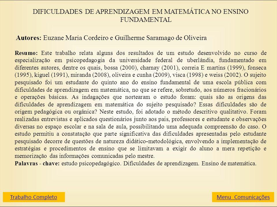 DIFICULDADES DE APRENDIZAGEM EM MATEMÁTICA NO ENSINO FUNDAMENTAL