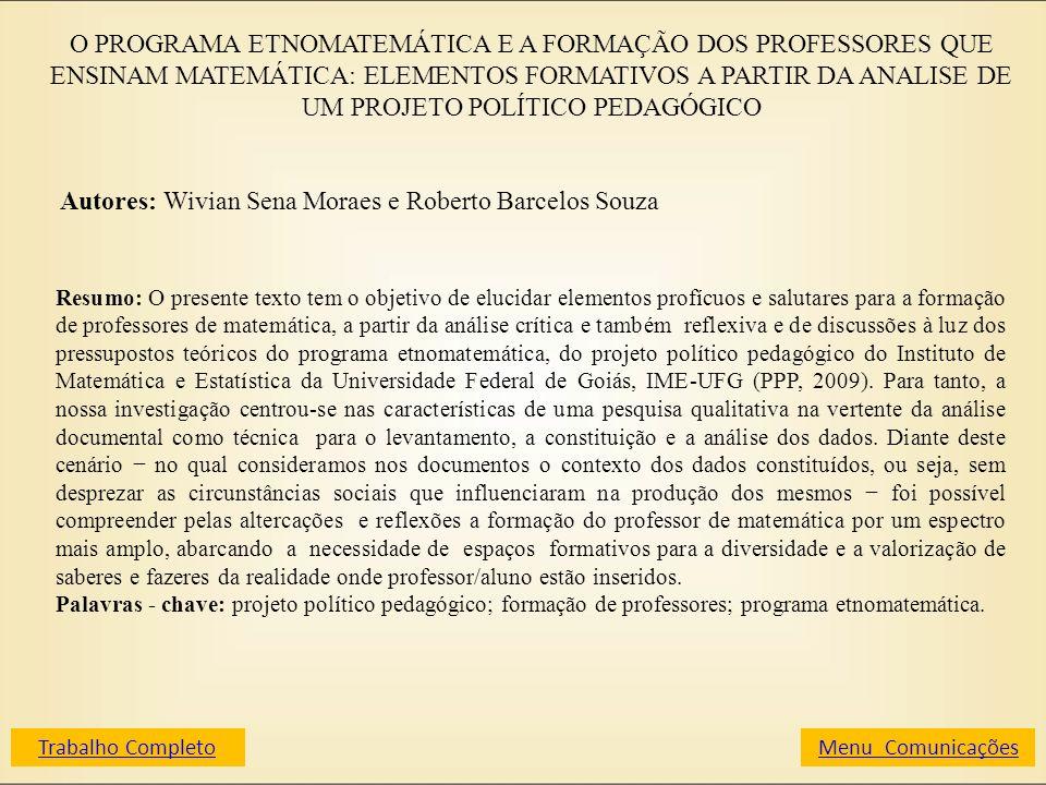Autores: Wivian Sena Moraes e Roberto Barcelos Souza