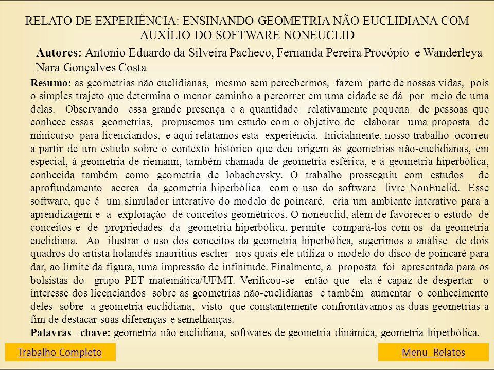 RELATO DE EXPERIÊNCIA: ENSINANDO GEOMETRIA NÃO EUCLIDIANA COM AUXÍLIO DO SOFTWARE NONEUCLID