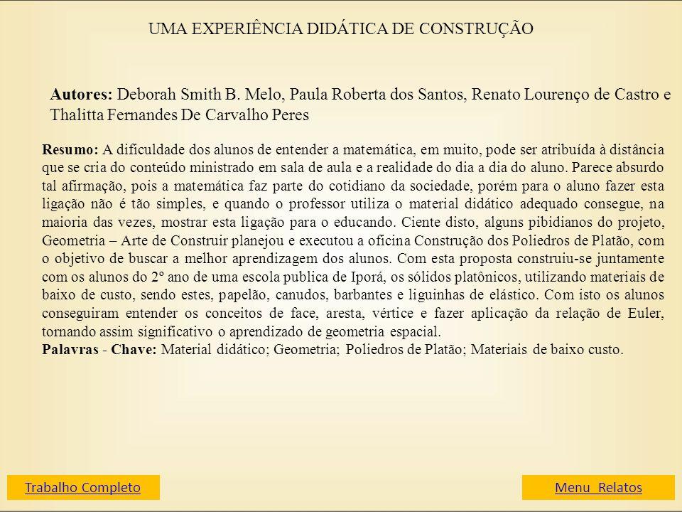 UMA EXPERIÊNCIA DIDÁTICA DE CONSTRUÇÃO