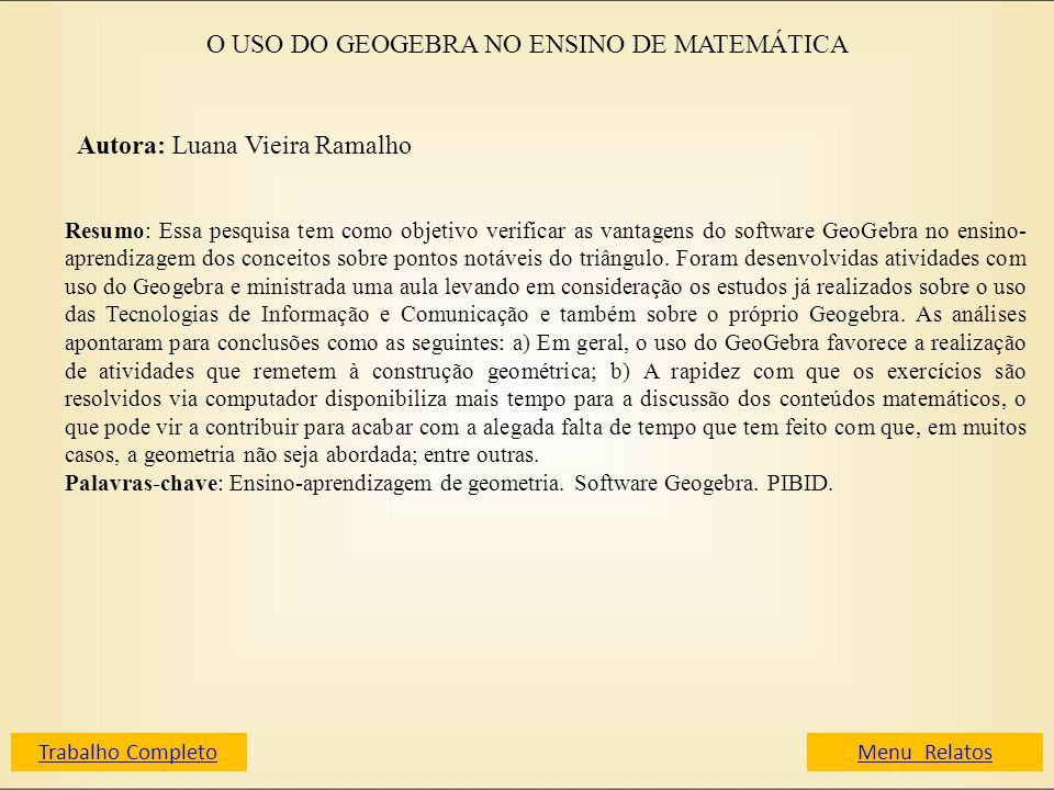 O USO DO GEOGEBRA NO ENSINO DE MATEMÁTICA